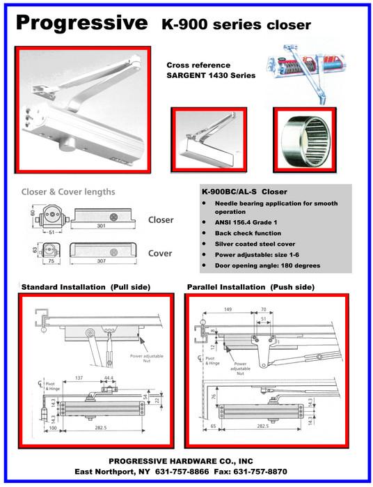 door closer installation. all k900 series door closers are packed 6 per case. closer installation